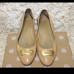 Bally Phiby Beige Patent Leather Ballet Flats